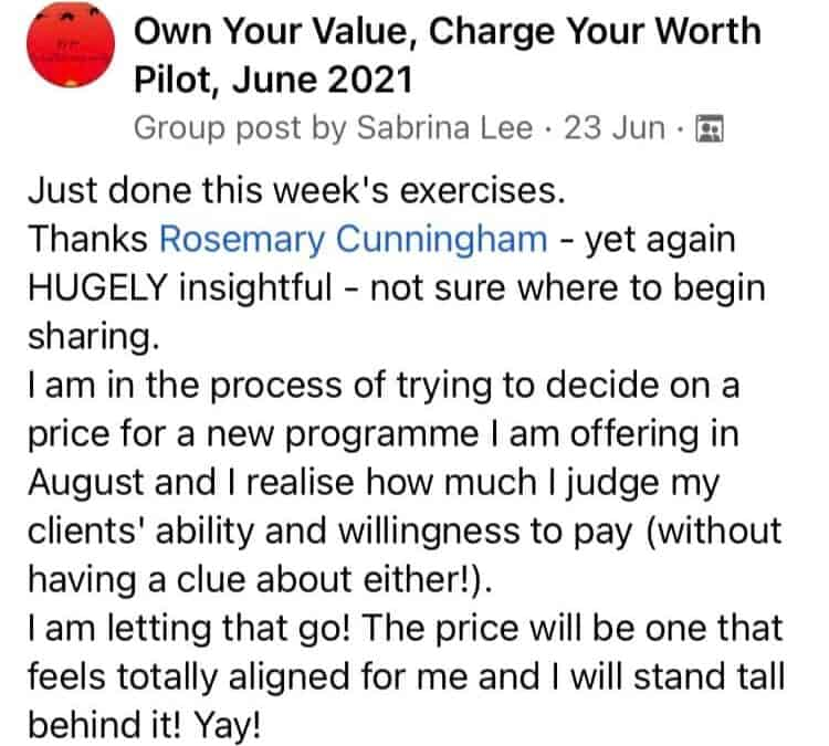 Own your Value, Charge your Worth begins September 2021!